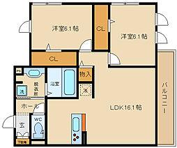 D-room 田井中4丁目(仮称)[2階]の間取り