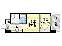 セレニテ江坂ルフレ 7階2Kの間取り