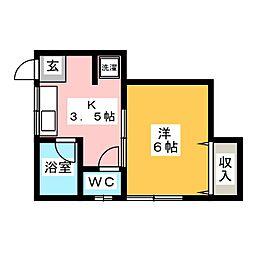 FIFTH KAMI-ITABASHI 1階1Kの間取り