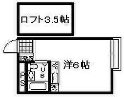 アースシティ田尻[208号室]の間取り