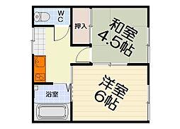大阪府堺市西区浜寺石津町中2丁の賃貸アパートの間取り