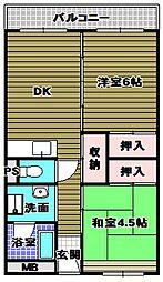 晴美台団地D棟[2階]の間取り