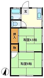 三愛コーポ北越谷 201[2階]の間取り