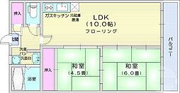 ファミール愛宕 2階2LDKの間取り