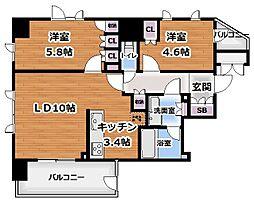 プライムアーバン新宿夏目坂タワーレジデンス 6階2LDKの間取り
