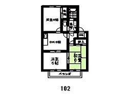 ゴールデンハイムB棟[102号室]の間取り