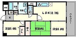 カサグランデ鶴見緑地 4階3LDKの間取り