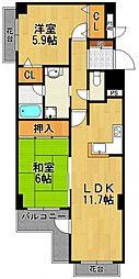コスモ南武庫之荘[3階]の間取り