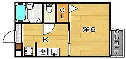 大阪府茨木市横江2丁目の賃貸アパートの間取り