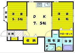 福岡県福岡市東区三苫7丁目の賃貸アパートの間取り