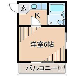神奈川県横浜市神奈川区六角橋2の賃貸アパートの間取り