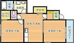 コンフォート八幡I[1階]の間取り