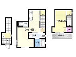 Maison de cuat梅小路(メゾンドシャ) 2階1DKの間取り