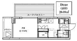 B CITY APARTMENT TACHIKAWA[409号室号室]の間取り