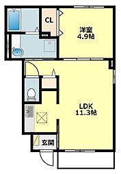名鉄西尾線 福地駅 3.7kmの賃貸アパート 1階1LDKの間取り