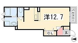 兵庫県姫路市網干区福井の賃貸アパートの間取り