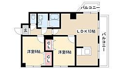 愛知県名古屋市瑞穂区豊岡通1丁目の賃貸マンションの間取り