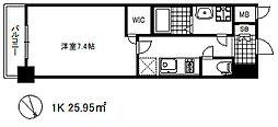 ワールドアイ神戸ハーバーランド 5階1Kの間取り
