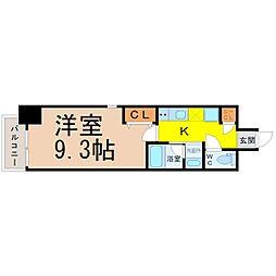 レジデンシア鶴舞公園 2階1Kの間取り
