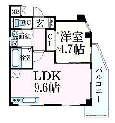 ミヤケンパレスII 3階1LDKの間取り