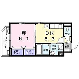 東急池上線 千鳥町駅 徒歩3分の賃貸マンション 1階1DKの間取り