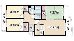 愛知県名古屋市天白区表台の賃貸マンションの間取り