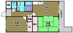 ピアコート壱番館 3階2DKの間取り
