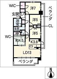 プラウド植田204号室[2階]の間取り