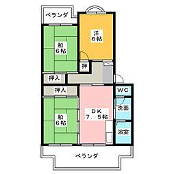 ビューネ松富II[3階]の間取り