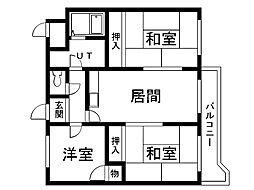 仲浜ハイツ 4階3DKの間取り