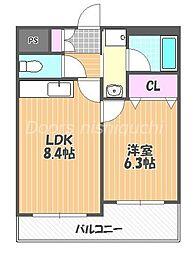 JR山陽本線 西川原駅 徒歩5分の賃貸マンション 4階1LDKの間取り