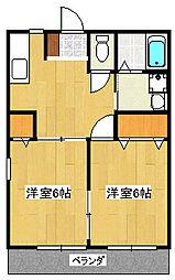 静岡県三島市梅名の賃貸アパートの間取り