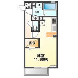 JR内房線 長浦駅 徒歩18分の賃貸アパート 1階ワンルームの間取り