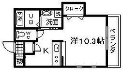 南海線 春木駅 徒歩10分の賃貸アパート 2階1Kの間取り