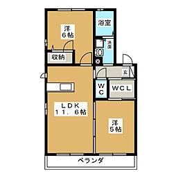 ウェルコート B[1階]の間取り
