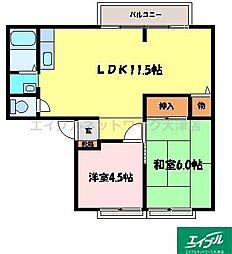 滋賀県大津市高砂町の賃貸アパートの間取り