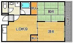 大阪府茨木市紫明園の賃貸マンションの間取り