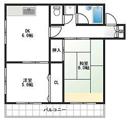 東長崎フラワーハイツ壱号館[303号室]の間取り