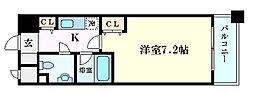 アヴァンセクール京橋南 7階1Kの間取り