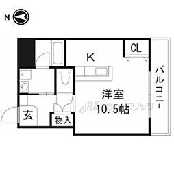 JR東海道・山陽本線 摂津富田駅 徒歩15分の賃貸マンション 2階ワンルームの間取り