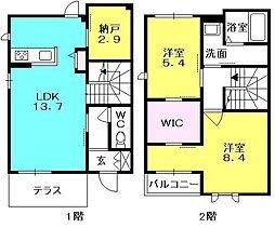 シャーメゾン桜谷 1階2SLDKの間取り