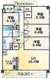 ジ・リーノ千里 3階3SLDKの間取り