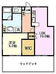 JR中央線 国立駅 徒歩17分の賃貸アパート 1階1LDKの間取り