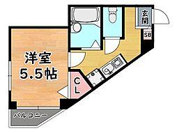 JR東海道・山陽本線 灘駅 徒歩1分の賃貸マンション 3階1Kの間取り