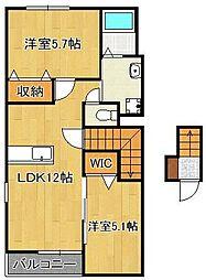(仮)菅原町新築アパート 2階2LDKの間取り