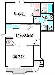 大阪府守口市八雲西町3丁目の賃貸アパートの間取り