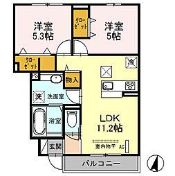 (仮)D‐room桜区南元宿2丁目 I[102号室]の間取り