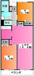 東京都北区志茂3の賃貸マンションの間取り