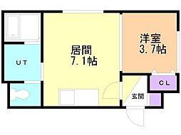 メニーズコート東屯田通 1階1DKの間取り