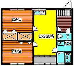 コーポ大水戸[202号室]の間取り